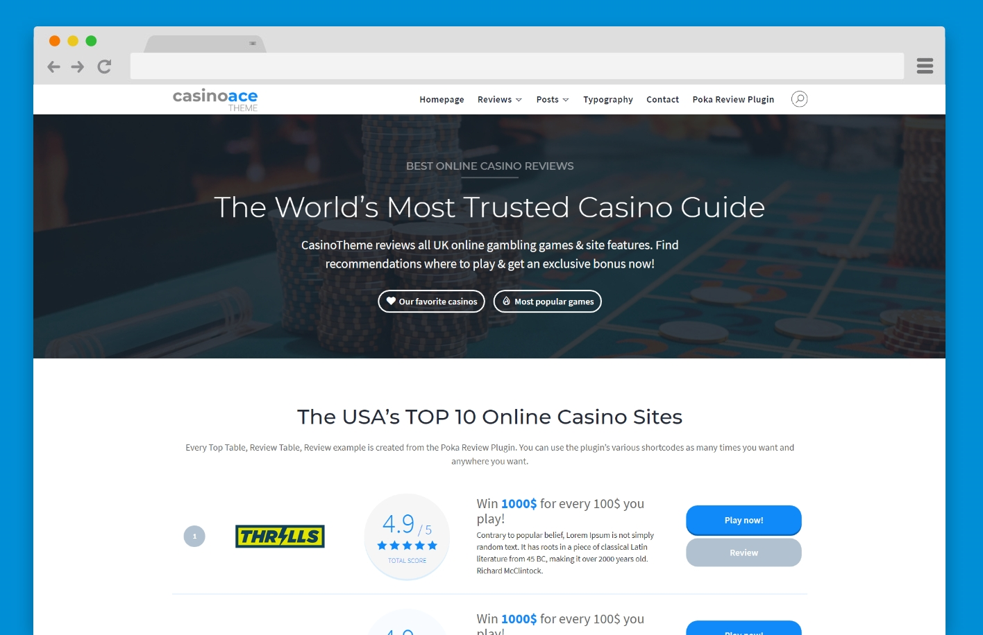 CasinoAce - High CTR Gambling WordPress Theme